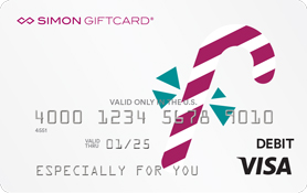 Visa® Simon Giftcard®: Happy Holidays Candy Cane