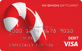 Visa® Simon Giftcard®: Traditional Candy Cane