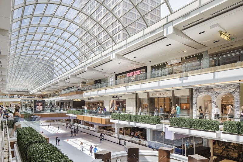 Info. The Houston Galleria features anchor stores Macy's, Neiman Marcus, Nordstrom and Saks Fifth Avenue. The Galleria contains not only a retail complex but also an office tower complex, two Westin hotels and a health club.